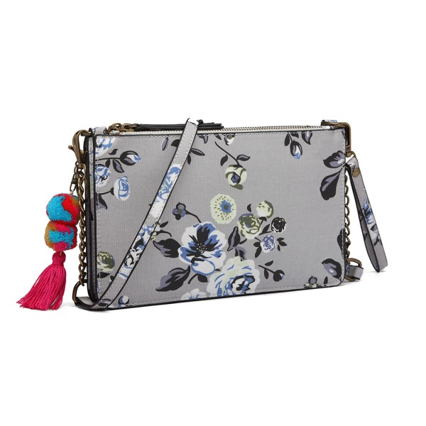 LG6803-MISS LULU CANVAS WITH POMPOM PENDANT HANDBAG SHOULDER BAG GREY
