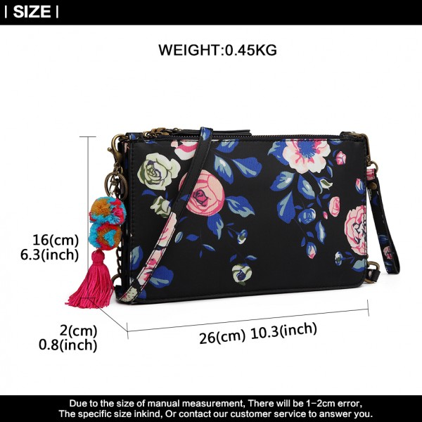 LG6803-MISS LULU CANVAS WITH POMPOM PENDANT HANDBAG SHOULDER BAG NAVY
