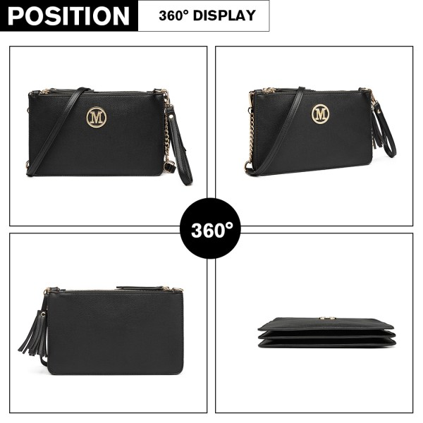 LG6804-MISS LULU PU LEATHER TASSEL ORNAMENT HANDBAG SHOULDER BAG BLACK
