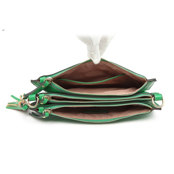 LG6804-MISS LULU PU LEATHER TASSEL ORNAMENT HANDBAG SHOULDER BAG GREEN