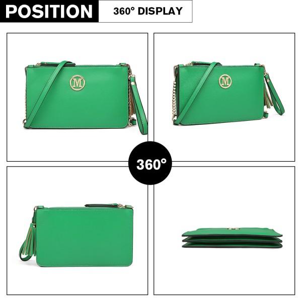 LG6804-MISS LULU PU LEATHER TASSEL ORNAMENT HANDBAG SHOULDER BAG GREEN