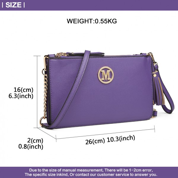 LG6804-MISS LULU PU LEATHER TASSEL ORNAMENT HANDBAG SHOULDER BAG PURPLE