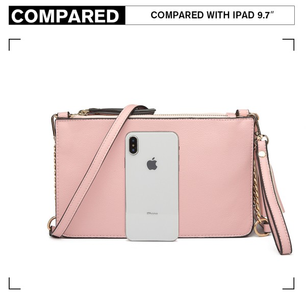 LG6804-MISS LULU PU LEATHER TASSEL ORNAMENT HANDBAG SHOULDER BAG PINK