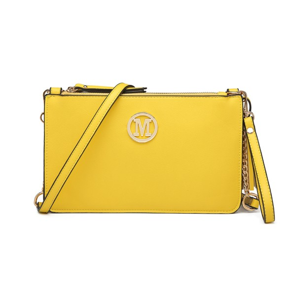 LG6804-MISS LULU PU LEATHER TASSEL ORNAMENT HANDBAG SHOULDER BAG YELLOW