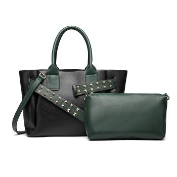 LG6806-MISS LULU LEATHER BELT AROUND HANDBAG SHOULDER BAG WITH POUCH BLACK/GREEN
