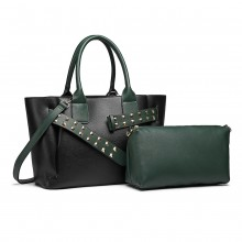 LG6806-MISS LULU LEATHER BELT AROUND HANDBAG SHOULDER BAG WITH POUCH BLACK/GREEN