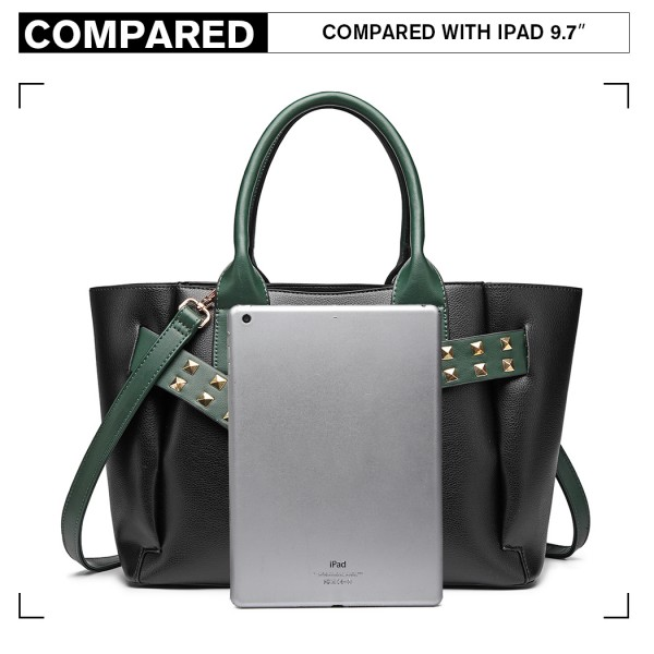 LG6806 - Miss Lulu Embellished Belt Tote Bag - Black/Green