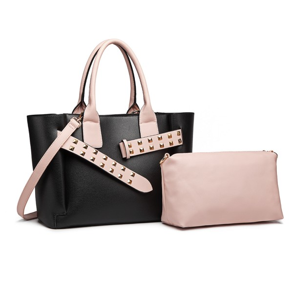 LG6806 - Miss Lulu Embellished Belt Tote Bag - Black/Pink