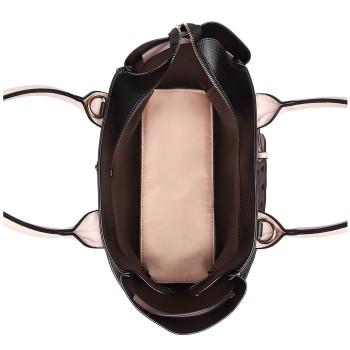 LG6806-MISS LULU LEATHER BELT AROUND HANDBAG SHOULDER BAG WITH POUCH BLACK/PINK