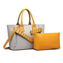 LG6806-MISS LULU LEATHER BELT AROUND HANDBAG SHOULDER BAG WITH POUCH GREY/YELLOW