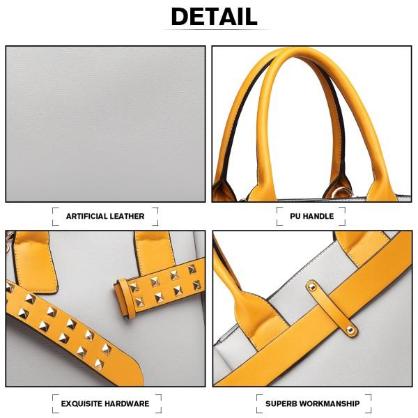 LG6806 - Miss Lulu Embellished Belt Tote Bag - Grey/Yellow