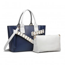 LG6806-MISS LULU LEATHER BELT AROUND HANDBAG SHOULDER BAG WITH POUCH NAVY/WHITE