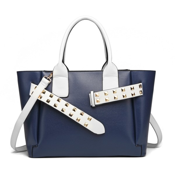 LG6806 - Miss Lulu Embellished Belt Tote Bag - Navy/White