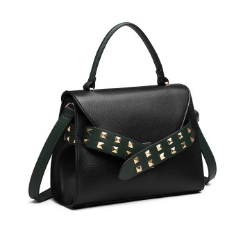 LG6829-MISS LULU STYLISH PU LEATHER HANDBAG SHOULDER BAG CROSSBODY BAG BLACK/GREEN