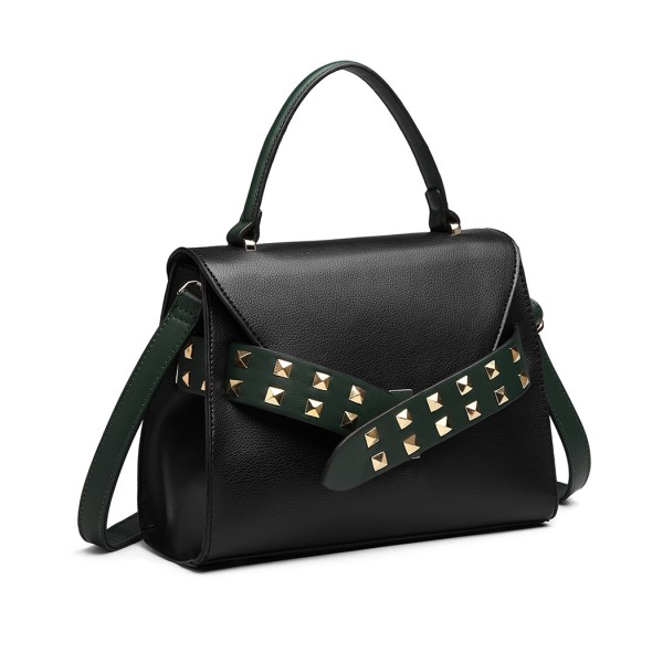 LG6829 - Miss Lulu Embellished Belt Design Shoulder Bag - Black/Green