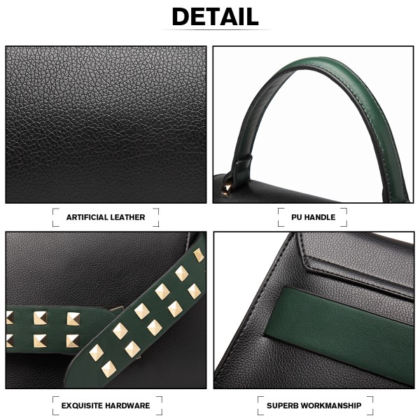 LG6829 - Miss Lulu Embellished Belt Design Shoulder Bag - Black/Green