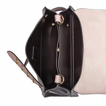 LG6829-MISS LULU STYLISH PU LEATHER HANDBAG SHOULDER BAG CROSSBODY BAG BLACK/PINK