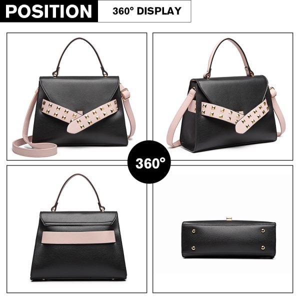 LG6829 - Miss Lulu Embellished Belt Design Shoulder Bag - Black/Pink