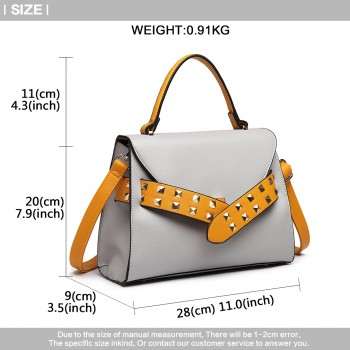 LG6829-MISS LULU STYLISH PU LEATHER HANDBAG SHOULDER BAG CROSSBODY BAG GREY/YELLOW