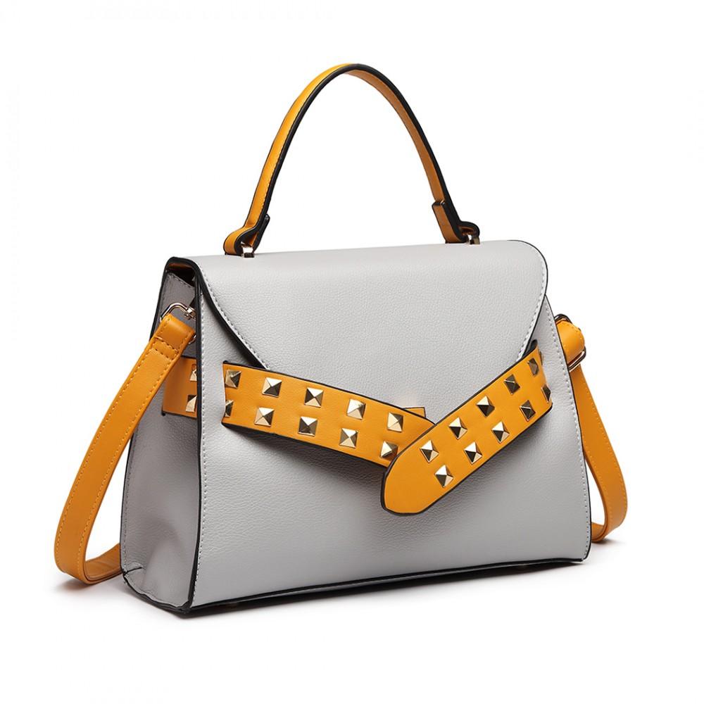 2f58534800f60 LG6829-MISS LULU STYLISH PU Leder Handtasche Umhängetasche CROSSBODY BAG  GRAU   GELB