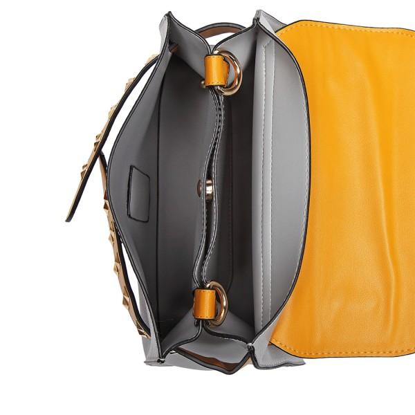 LG6829 - Miss Lulu Embellished Belt Design Shoulder Bag - Grey/Yellow