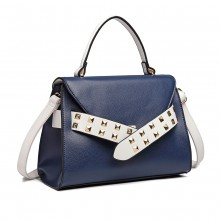 LG6829-MISS LULU STYLISH PU LEDER HANDTASCHE SCHULTERTASCHE CROSSBODY BAG NAVY / WHITE