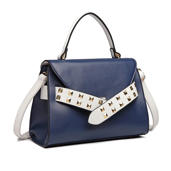 LG6829 - Miss Lulu Embellished Belt Design Shoulder Bag - Navy/White