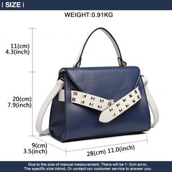 LG6829-MISS LULU STYLISH PU LEATHER HANDBAG SHOULDER BAG CROSSBODY BAG NAVY/WHITE