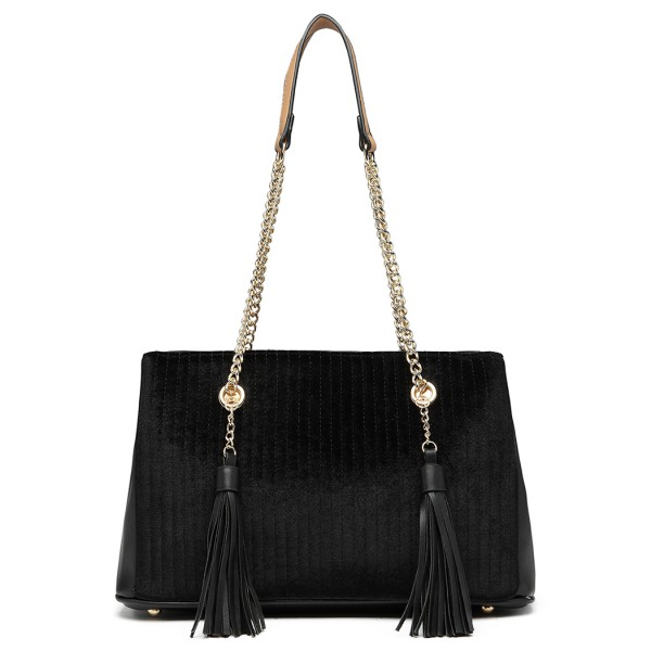 LT6857 - Miss Lulu Velour Quilted Tassel Shoulder Bag - Black