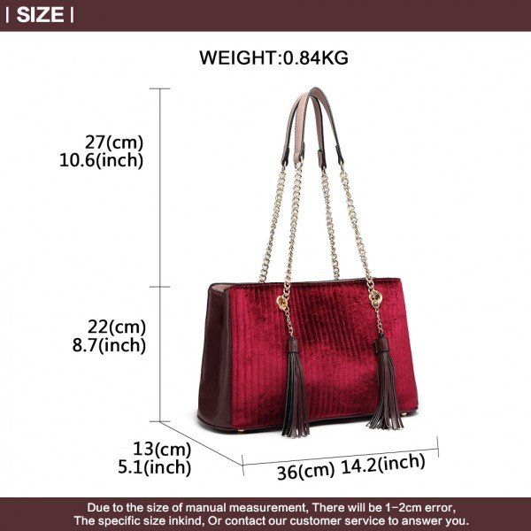 LT6857 - Miss Lulu Velour Quilted Tassel Shoulder Bag - Burgundy