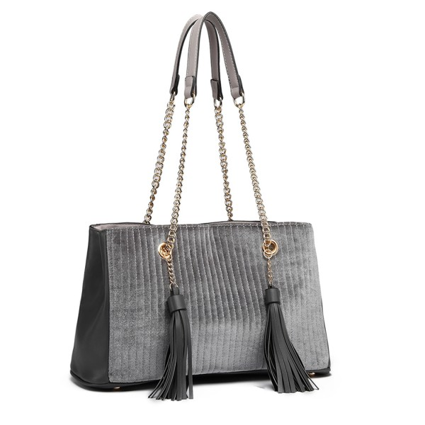 LT6857 - Miss Lulu Velour Quilted Tassel Shoulder Bag - Grey