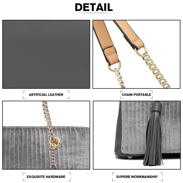 LT6857-MISS LULU SUEDE LEATHER QUILTED TASSEL ORNAMENT HANDBAG SHOULDER BAG GREY