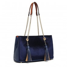 LT6857 - Miss Lulu Velour Quilted Tassel Shoulder Bag - Navy