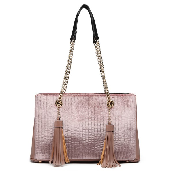 LT6857 - Miss Lulu Velour Quilted Tassel Shoulder Bag - Pink