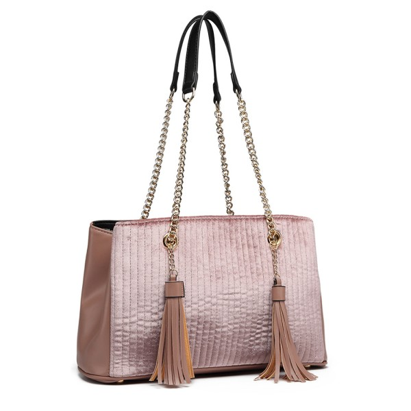 LT6857-MISS LULU SUEDE LEATHER QUILTED TASSEL ORNAMENT HANDBAG SHOULDER BAG PINK