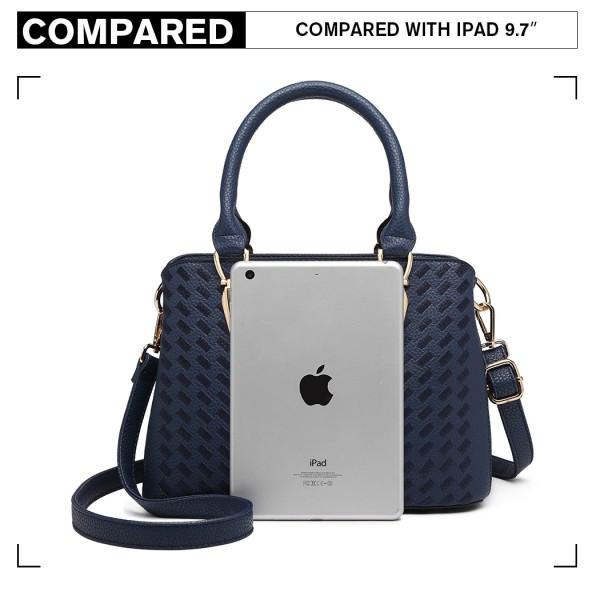LG6865 - Miss Lulu Leather Look Weave Effect Shoulder Bag - Blue