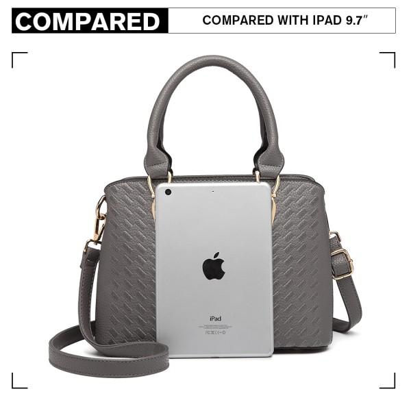 LG6865 - Miss Lulu Leather Look Weave Effect Shoulder Bag - Grey