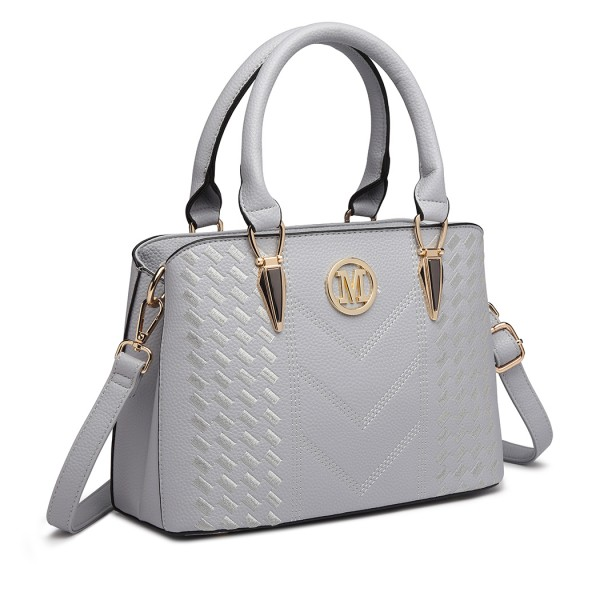 LG6865 - Miss Lulu Leather Look Weave Effect Shoulder Bag - Light Grey