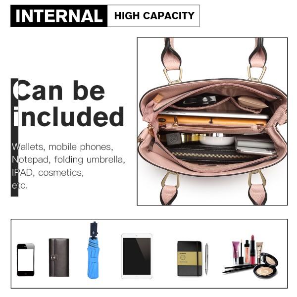 LG6865 - Miss Lulu Leather Look Weave Effect Shoulder Bag - Pink