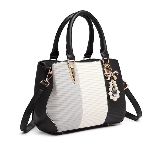 LG6866 - Miss Lulu Leather Look Colour Block Bow Pendant Handbag - Black