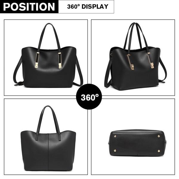 LG6914 - Miss Lulu Soft Leather Look Handbag - Black