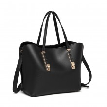 LG6914 - Miss Lulu Soft Leather Look Handbag - Black