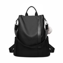 LG6917... Miss Lulu Two Way Anti-Theft Backpack cu Pom Pom Pendant... Black