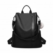 LG6917 - Sac à dos antivol Miss Lulu Two Way avec pompon - Noir