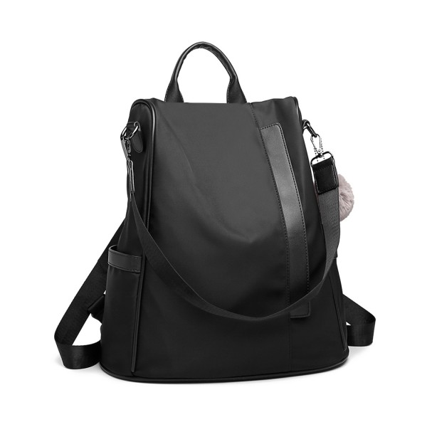 LG6917 - Miss Lulu Two Way Anti-theft Backpack with Pom Pom Pendant - Black
