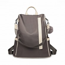 LG6917 - Miss Lulu Two Way Anti-theft Backpack with Pom Pom Pendant - Grey