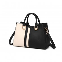 LG6918 - Miss Lulu Contrast Shoulder Bag - Black
