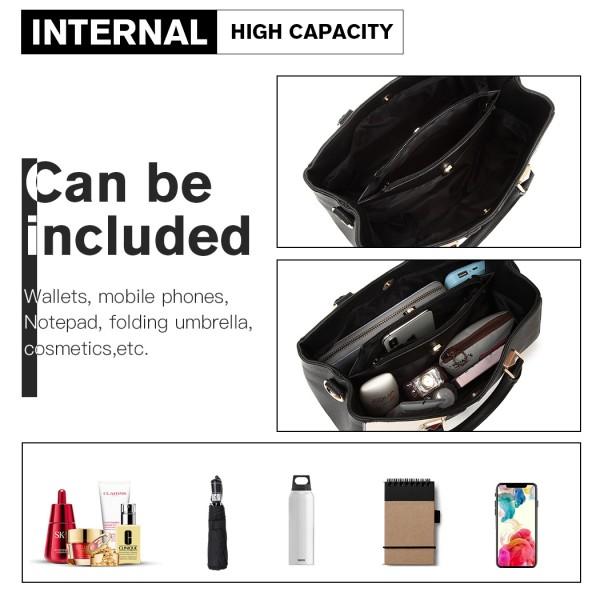LG6918 - Miss Lulu Contrast Shoulder Bag - Black