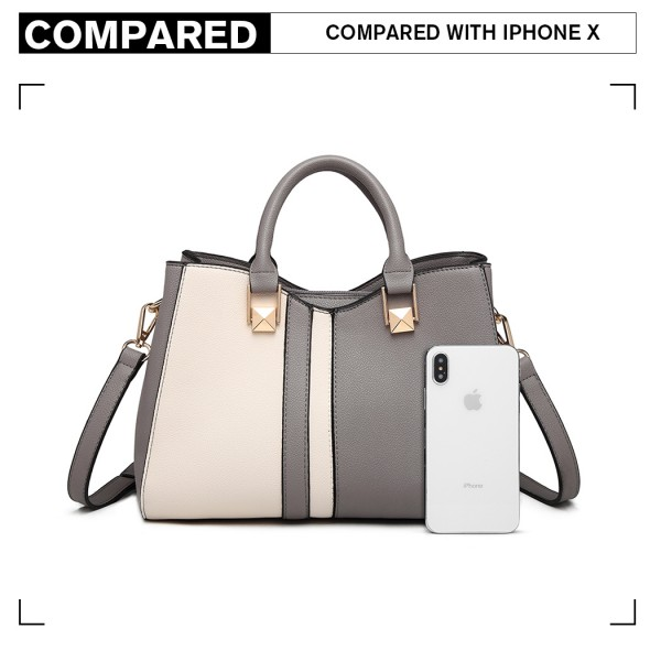 LG6918 - Miss Lulu Contrast Shoulder Bag - Grey