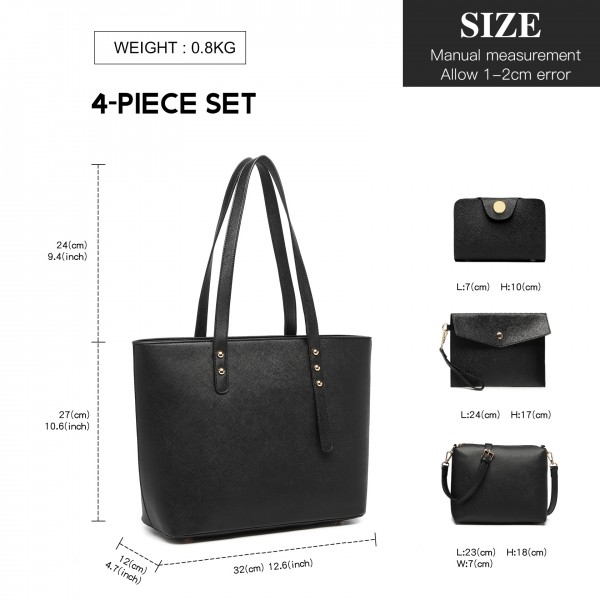 LG6931 - Miss Lulu 4 Piece Handbag Set - Black